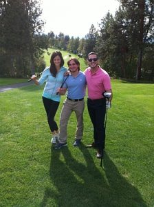 Second-year students Sara Treloar, Rob Trasolini, and Jordan Hynd hit the links for the 2nd annual SMP Student Golf Tournament at Sunset Ranch Golf Club.