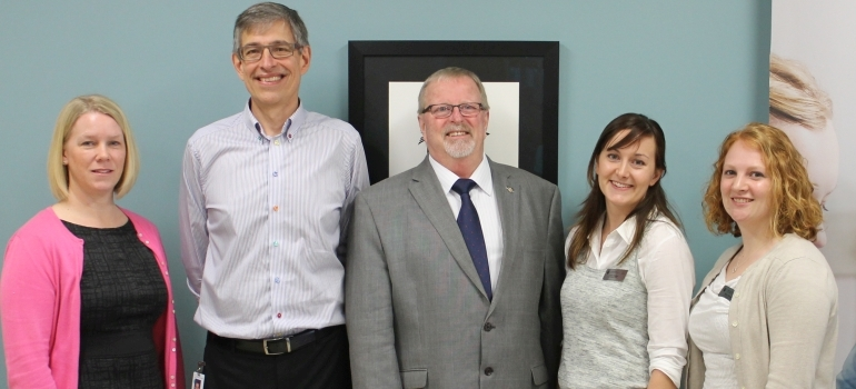(L-R) Vernon Integrated Community Clerkship Director Dr. Carmen Larsen, Vernon Family Physician Dr. George Borchert, , MLA Eric Foster, and UBC medical students Julia Hassler and Erin Charman help official open new UBC space at Vernon Jubilee Hospital
