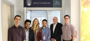 Dr. Allan Jones, Regional Associate Dean, Interior with SMP Kamloops students (L-R) Justin Lambert, Karan D'Souza, Sarah Miller, and Colby Finney.