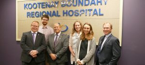 Grant Thornton representatives, from left, Ron Anderson, Don Catalano, and Geoff Yule (far right) with UBC medical students Daniel Woodsworth, Tanya MacDonell and Frances Morin. Missing: medical student Ben Guidolin